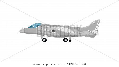 Military jet aircraft isolated icon. Modern army force aviation, air transport, supersonic combat airplane, jet plane vector illustration