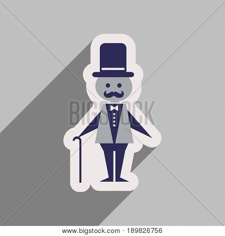 Flat web icon with long shadow stylish man
