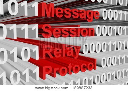Message Session Relay Protocol in the form of binary code, 3D illustration