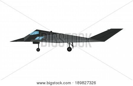 Military jet bomber aircraft isolated icon. Modern army force aviation, air transport, supersonic combat airplane, jet plane vector illustration