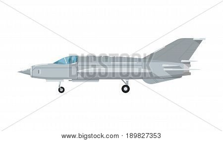 Army battle jet aircraft isolated icon. Modern army force aviation, air transport, supersonic combat airplane, jet plane vector illustration