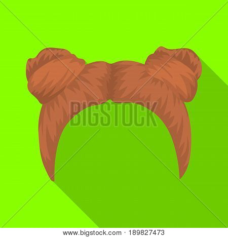 Red with two bobbins.Back hairstyle single icon in flat style vector symbol stock illustration .