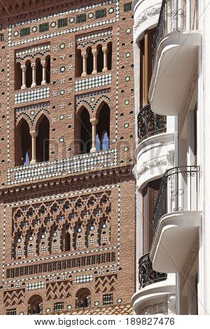 El Salvador. Mudejar art tower in Teruel. Spain heritage. Architecture
