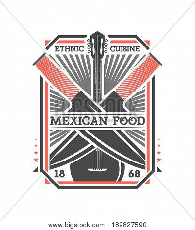 Mexican food vintage isolated label. Traditional authentic mexican culture element, national festival event emblem vector illustration.