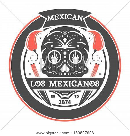 Los amigos vintage isolated label with mexican skull. Traditional authentic mexican culture element, national festival event emblem vector illustration.