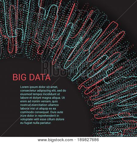 Vector Illustration of Big Data visualization. Futuristic Infographic Design. Complex Visual Data Background. Abstract lines and dots.