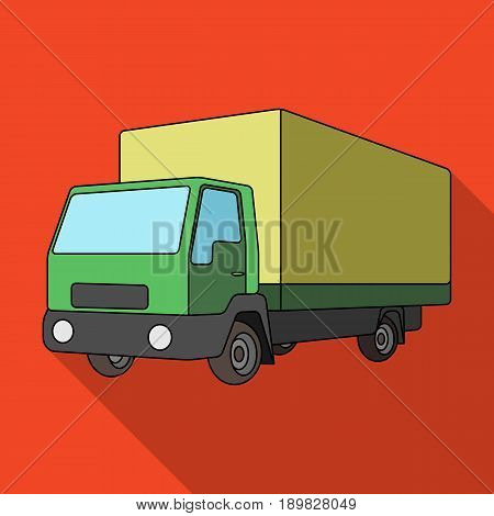 Truck with awning.Car single icon in flat style vector symbol stock illustration .