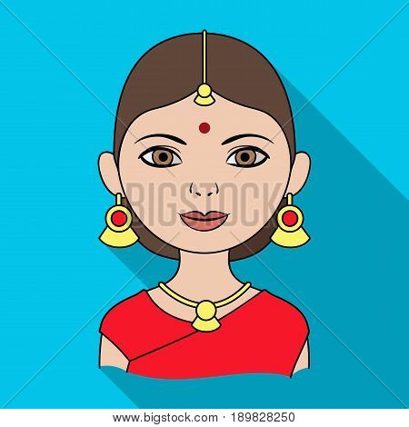 Hindu woman.Human race single icon in flat style vector symbol stock illustration .