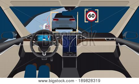 Driverless electric car. Autonomous self driving mode. Head-up display. Vector illustration