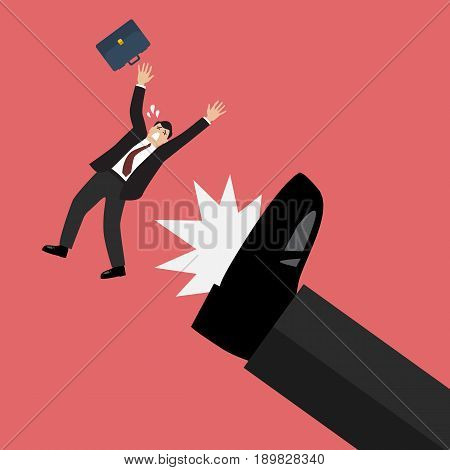 Businessman kicked by his boss big foot. Vector illustration