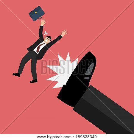 Businessman kicked by his boss big foot. Vector illustration