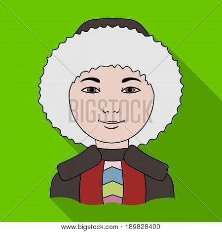 Eskimo. Human race single icon in flat style vector symbol stock illustration .