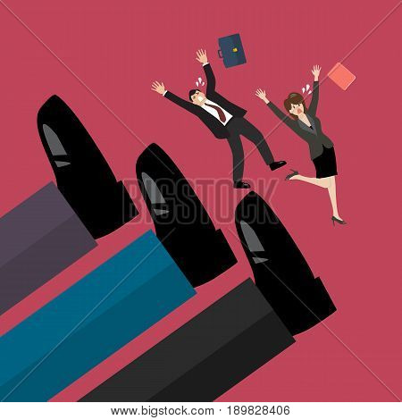 Employees kicked by boss big foots. Vector illustration