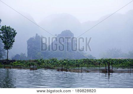 Tam Coc - Bich Dong tourist destination in minst in the monsoon near Ninh Binh, Vietnam