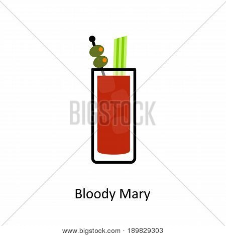 Bloody Mary cocktail icon in flat style. Vector illustration