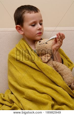 ill child with flu and fever