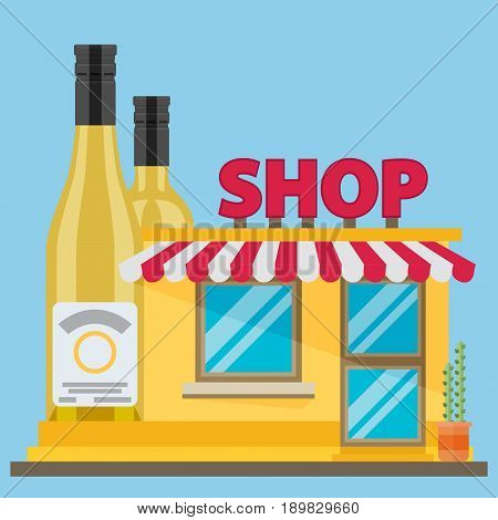 The front facade of the liquor store. Flat style. Vector illustration.