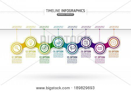 Colorful chain diagram infographics for presentations. Timeline infographics background template with 8 options. Metaball circular elements with icons and text blocks