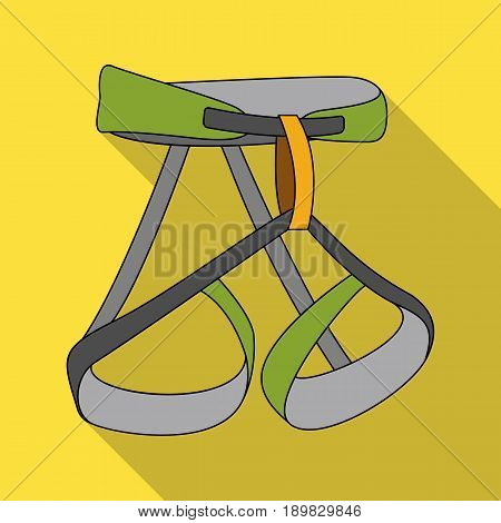 Climbing strapping, insurance.Mountaineering single icon in flat style vector symbol stock illustration .