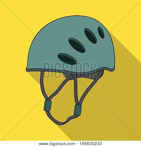 Plastic helmet climber.Mountaineering single icon in flat style vector symbol stock illustration .