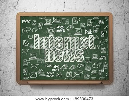 News concept: Chalk White text Internet News on School board background with  Hand Drawn News Icons, 3D Rendering