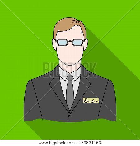 Male realtor.Realtor single icon in flat style vector symbol stock illustration .