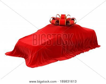 Presentation of the New Car isolated on white background. 3D render