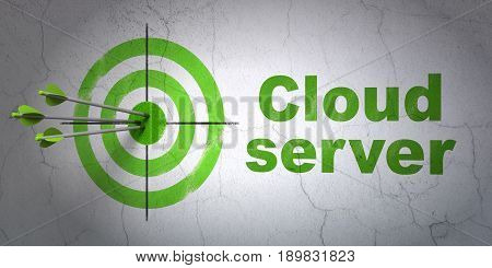 Success cloud networking concept: arrows hitting the center of target, Green Cloud Server on wall background, 3D rendering