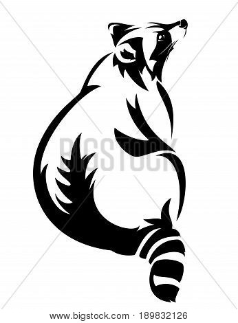 sitting raccoon black and white vector design