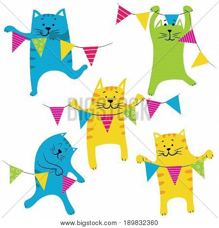 Collection with cute cats hold colorful flags. Happy Birthday party set. Holidays pets and decorations.