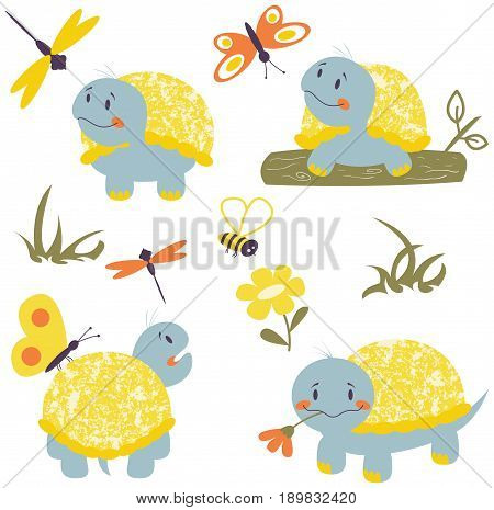 Collection with cartoon turtles butterfly and dragonfly. Nature vector set with reptiles and insects.