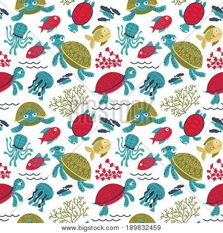 Vector colorful turtles underwater with fish seamless pattern. Marine life cartoon background. Backdrop with sea animals and plants.