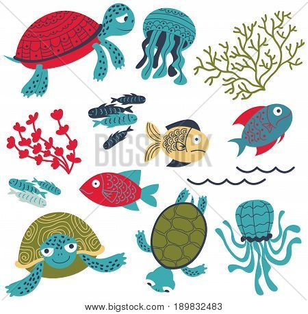 Vector collection with colorful sea turtles with fish and corals. Marine life cartoon set. Sea animals and plants elements isolated on white background.