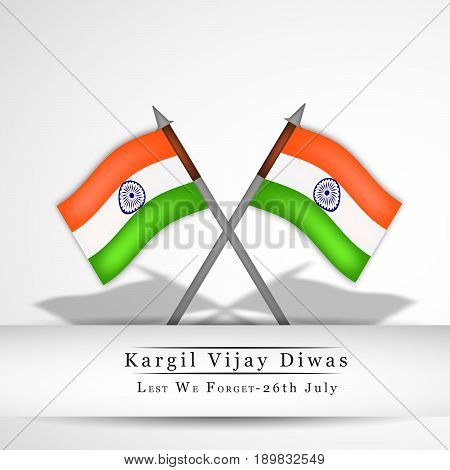 illustration of India flags with kargil vijay diwas text