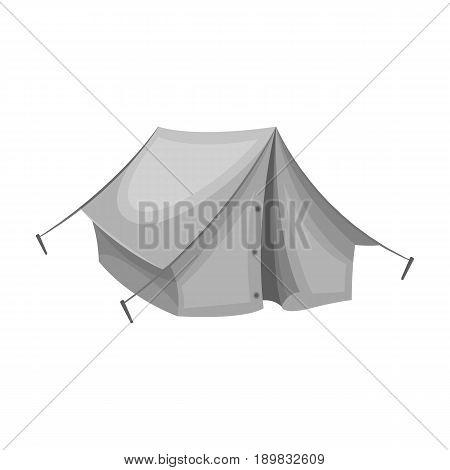 Tourist tent.African safari single icon in monochrome style vector symbol stock illustration .