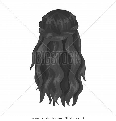 Dark, loose hair behind.Back hairstyle single icon in monochrome style vector symbol stock illustration .