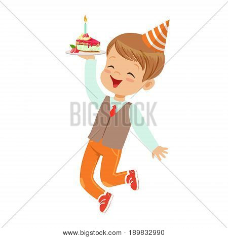 Adorable little boy in elegant clothes and red party hat having fun with birthday cake. Childrens birthday party colorful cartoon character vector Illustration isolated on a white background