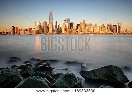 Sunrise over the Lower Manhattan in new york city