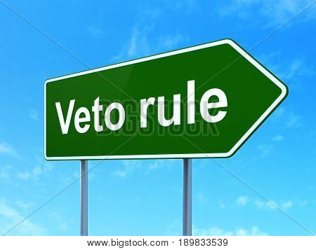 Politics concept: Veto Rule on green road highway sign, clear blue sky background, 3D rendering