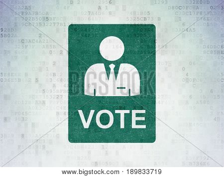 Political concept: Painted green Ballot icon on Digital Data Paper background