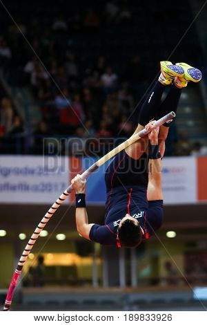 BELGRADE SERBIA - MARCH 3-5 2017: POLE VAULT MENALDO KEVIN EUROPEAN ATHLETICS INDOOR CHAMPIONSHIPS IN BELGRADE SERBIA