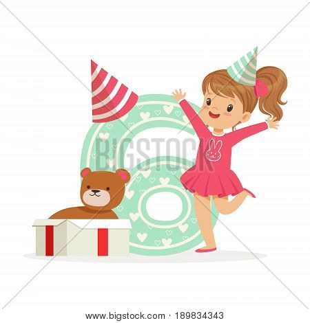 Adorable happy six year old girl in a party hat celebrating her birthday, colorful cartoon character vector Illustration isolated on a white background