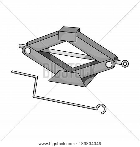 Mechanical Jack.Car single icon in monochrome style vector symbol stock illustration .