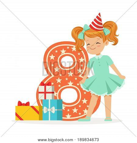 Smiling happy eight year old girl in a red party hat celebrating her birthday, colorful cartoon character vector Illustration isolated on a white background