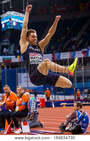 BELGRADE SERBIA - MARCH 3-5 2017: MAN HEPTATHLON MAYER KEVIN LONG JUMP EUROPEAN ATHLETICS INDOOR CHAMPIONSHIPS IN BELGRADE SERBIA
