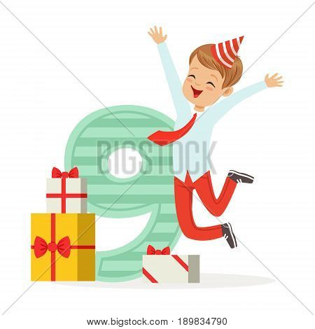 Happy nine year old boy celebrating his birthday, colorful cartoon character vector Illustration isolated on a white background