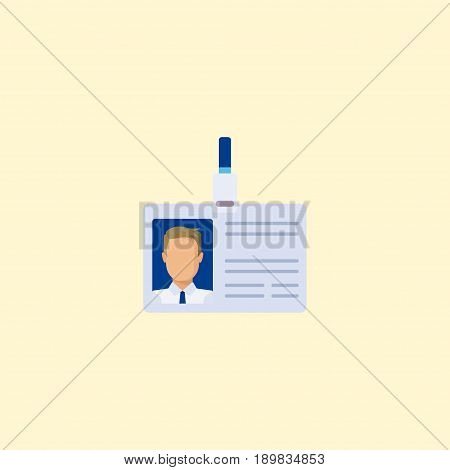 Flat Badge Element. Vector Illustration Of Flat Id Card Isolated On Clean Background. Can Be Used As Badge, Id And Card Symbols.