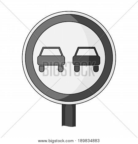 Road sign overtaking is prohibited .Car single icon in monochrome style vector symbol stock illustration .