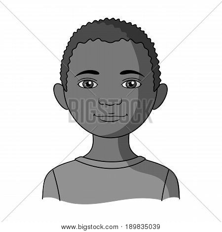 African.Human race single icon in monochrome style vector symbol stock illustration .