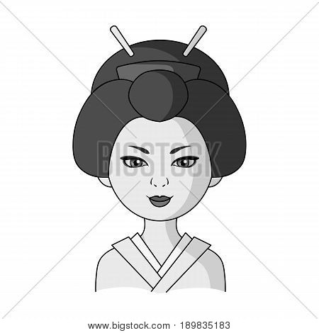 Japanese.Human race single icon in monochrome style vector symbol stock illustration .